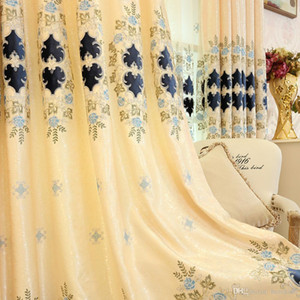 European-style embroidery chenille finished living room bedroom curtain fabric yarn custom