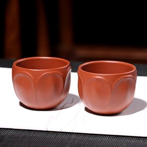 Arcilla púrpura Lotus taza de té Oficina Teaware Zisha tazas de té Tieguanyin Puer arte pequeños cuencos de té para decoración del hogar taza de té Drinkware