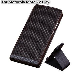 QX03 De Luxe En Cuir Véritable Vertical Flip Phone Cas Pour Motorola Moto Z2 Play Cas Pour Motorola Moto Z2 Play Vertical Flip Case
