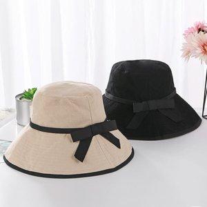 Sommer Fischerhut Chic Cotton Schlapphut mit bowknot Panama Frauen Fischer Caps Sonnenhut Hüte