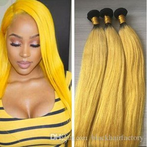3 Связка Ombre Hair Extension Желтого Ombre Уток волос ткет Бразильский шелковистый прямой Оптовый волос девственницы
