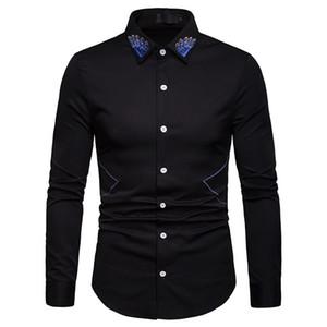 Col brodé robe chemises pour hommes 2019 nouvelle mode bussiness chemises designer de la marque à manches longues chemise de mariage marié chemise