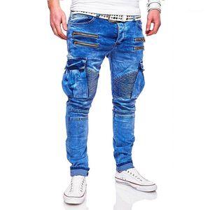 Jean Calças masculinas 2,020 New Designer Hombres Primavera Jeans Mens Fashion azuis Zippers rasgado Biker