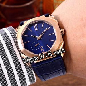 Nuovo OCTO 103035 Orologio da uomo automatico quadrante blu oro rosa Orologi economici in pelle blu Miglior edizione economici hi_watch G13c3