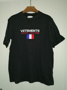 Europa 2020 camisa de moda de verano de gran tamaño Vetements T bordado de la bandera de Francia Hip Hop alta costura camiseta T-Top