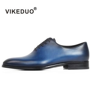 VIKEDUO Düz Mavi El Yapımı Deri Ayakkabı Erkekler Düğün Ofis Resmi İnek Cilt Oxford Ayakkabı Erkek Düz Ayakkabı erkek Elbise