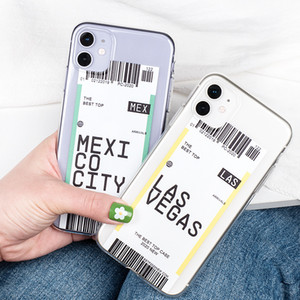 Creativo biglietto aereo USA Città Londra Parigi Tokyo Label iPhone Mondiale TPU per 11 Pro Max XR XS Max 7 8 6S Plus SE 2020 anticaduta copertina