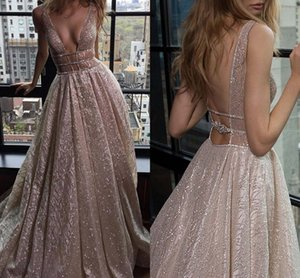 Sparkly Garden Beach Wedding Dresses 2020 Luxe Berta Sexy V-cou chapelle train de vacances d'été mariée Backless robe Robe De Soire