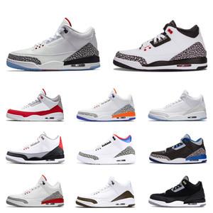 أحذية HOT النار الأحمر كرة السلة للرجال 3 3S القطة السوداء للأسمنت الأبيض النقي الذئب الرمادي الحرة رمي خط كاترينا رجل مدرب احذية رياضية