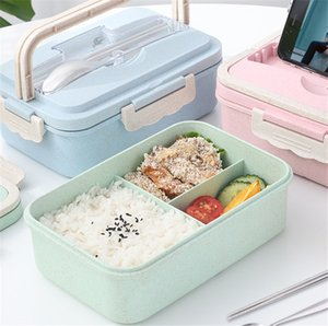 Wheat Straw Lunch Boxes Creative Fashion Microwave Sealed Lid Tableware Food Container Multi-functional Lattice Durable Bento Box