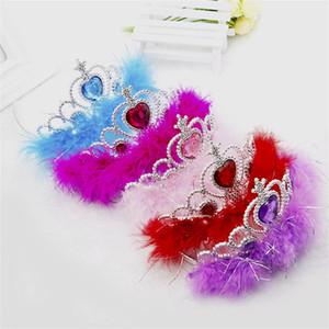 Azul Crianças Headwear Feather Crown Estilo Faixa de Cabelo Criança roxo Red Multi Cores Chefe Hoops Chegada Nova 1 6ya L1