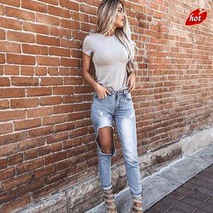 2018 modo delle donne Distrutto jeans strappati Distressed Hole jeans blu denim lavato Womens Hole Tasche Pantaloni O8R2