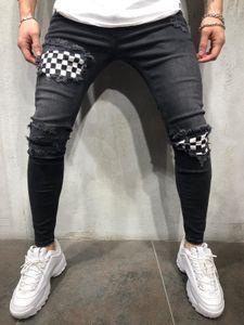 Jeans en denim laminé denim à carreaux de designer High Street Mens Slim Fit Boy Adolescent Hiphop déchiré Jean Pantalon