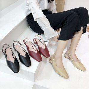Hot Sale-2019 With Low Square Hasp Baotou Single Shoe Back Air Flat Bottom Season Sandals Xia Baida Women's Shoes