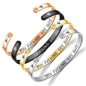 Stainless Steel Open Bracelet Letter Keep Fucking Going Bracelet BEST BITCHES Bangle Cuff women bracelets Drop ship