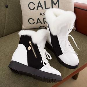 botas para la nieve 2019 nueva correlación de colores de las mujeres principales redondas, además de terciopelo de algodón botas femeninas antideslizantes botines casuales salvajes Martin de las mujeres