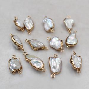 10pcs / lote único 14 K plissadas cobre Rim irregulares naturais barrocas pérolas de água doce Beads Descobertas jóias para Brinco Pulseira Fazendo DIY