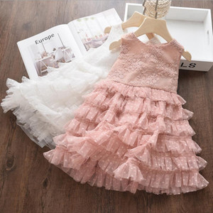 Summer Girls Clothes Flower Girl Lace Dresses Sleeveless Toddler Vest Dress Prince Tutu Dresses Boutique Kids Clothing 2 Colors DW5550