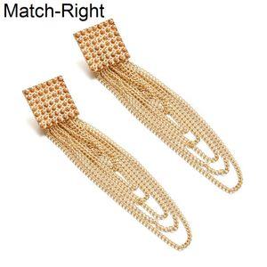 Match-Right Femmes Déclaration Long Tassel Or / Argent Boucles D'oreilles Pour Les Femmes Pendantes Pendantes Pendantes Pendantes Pendantes Bijoux Pendant LX069