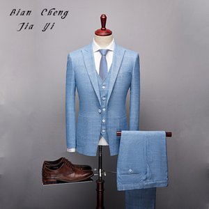 Fashion Blue Boutique High quality Mens Wedding suit Formal Suits 3 Pieces Wedding Groom Tuxedos Prom Slim Fit Light plaid suits