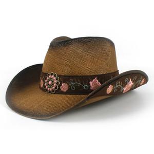Flor de las mujeres de paja antiguos sombreros de vaquero Acabado Western Cap Wide Brim Sunhat Gorras de alta calidad para dama