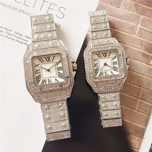 Toptan Yüksek Kalite Erkek Kadın Lüks İzle Tam Elmas Buzlu Out Kayış Tasarımcı Saatler Kuvars Hareketi Çift Severler Saat Kol
