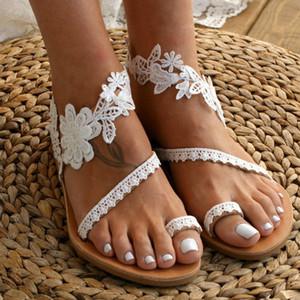 Adisputent 2020 nupcial Barefoot Sandálias Sapatos Acessórios Tornozeleiras Sequins Decor Lace Wedding mulheres cadeia Senhora da praia Sandals