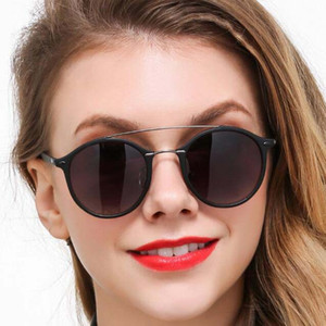 New Fashion Round Sunglasses Double Bridge Men Women's Brand Designer Driving occhiali da sole UV400 Sun Glasses Female with Case