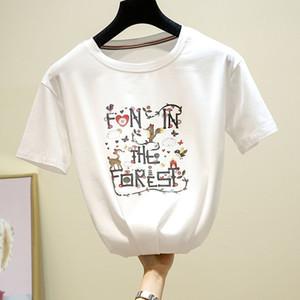 GGRIGHT 2019 Été Coton Drôle Impression T-shirts Femmes Coton Casual O-cou À Manches Courtes Tee Shirt Femme Blanc Tops Harajuku