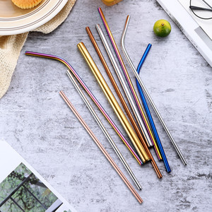 Hot Sale 304 Stainless Steel Straw Bent And Straight Reusable Colorful Straw Drinking Straws Metal Straw Party Wedding Bar Drinking Tools