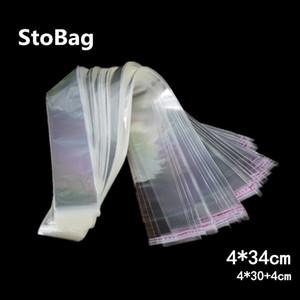 StoBag 1000pcs 4 * 34cm sacos transparentes autoadesivo Cello Bag Resealable longo pequeno plástico para cookie dom Jóias Magro Packing