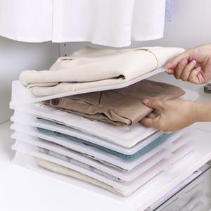 5pcs / lot Chemises T-shirts Vêtements Armoire Organisateur plastique Placard Organisateur tiroir Cabinet pliant Conseil Rack de stockage