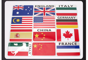 80x50mm Aluminum Alloy Car stickers Badges Emblem Thailand Australian Spain Italy Canada Germany Russia Sweden France Indonesia England Flag