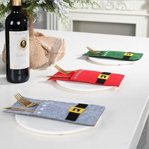 Couverts Sac de Santa Bonhomme de neige couteau et fourchette sac de Noël couverture de Noël Party Décoration de table Ornement Décoration de Noël XD22255