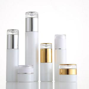 Verre blanc cosmétique Jars Lotion Flacon-Pompe Atomiseur Vaporisateurs à l'acrylique Goutte Couvercles 20g 30g 50g 20ml - 120ml