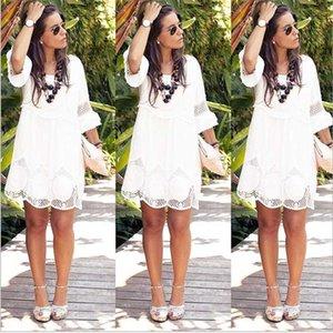 BONJEAN Bohemian Beach Dress Lace Patchwork Hollow Out Clothing Loose Mini Dress 2020 Plus Size Summer Vestidos BJ2866