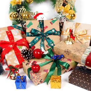 Noel Hediye ambalaj kağıdı 70 * 50cm Hediye Kraft Kağıt Noel Hediye Kutusu Paketi Kağıt Santa Kar Tanesi Paketleme Kağıtlar