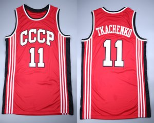 red cheap Vladimir Tkachenko #11 Union Sovietica CCCP Retro Basketball Jerseys Mens Stitched Custom Any Number Name