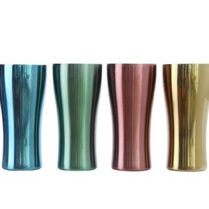 4 renk Paslanmaz Çelik Kupalar Metal spor fincan tek katmanlı renkli Bardak Açık araba fincan Kahve kupalar Çay Bira kupa T2I5186