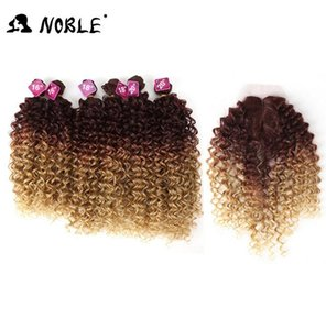 2020 New Noble Afro Kinky Curly Hair Weave 16-20 inch 7Pieces lot Synthetic Hair Bundles With Closure Middle Part Lace Front Closure