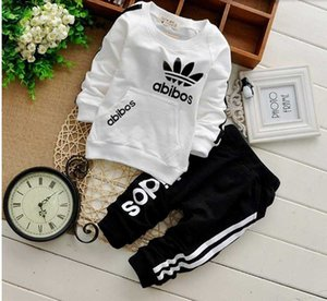 new HOT 2019 children clothing sets spring autumn Girls Boys sports sets plaid hoodies pants twinset kids hooded Tracksuit