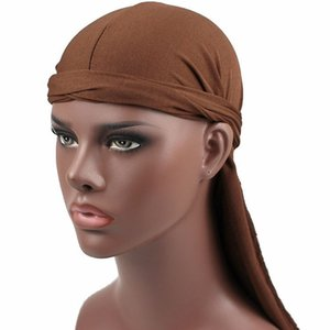 Men Women Durag Bandana Turban Wigs Male Milk Silk Hip Hop Headwear Headband Pirate Hats Caps Hair Accessories