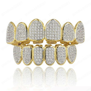New Baguette Set Teeth Grillz Top & Bottom Gold Silver Color Grills Dental Mouth Hip Hop Fashion Jewelry Rapper Jewelry
