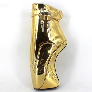 Kadın Çizmeler Kısa Seksi Fetiş Ayak Bileği Yüksek Topuk Pompaları Süet Toka Stiletto Ince Topuklu PadLocks Çizmeler Altın Parlak Bale Tarzı Ayakkabı