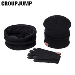 2019 nouvelle marque tricot d'hiver Bonnet écharpe gants Ensembles Hommes Femmes Woollen Chapeaux Thicken plus velours écharpe Caps Set
