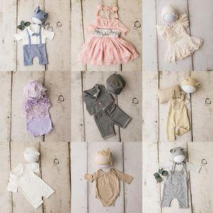 القطن مجموعة ملابس لحديثي الولادة التصوير الدعائم الطفل والتقطت الصور البدلة اكسسوارات العصابة سادة صغيرة FOTOGRAFIA النمذجة