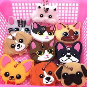 40pcs / Lot Silikon-Schlüsselring-Cap-Kopf-Abdeckung Keychain Kasten Shell Katze Hamster Mops-Hund Tiere Form Schöne Schmuck-Geschenk