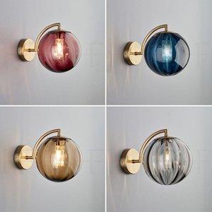Lámpara de pared moderna sala de estar luz de pared de cristal simple creativo dormitorio cabecera estudio pared sconce