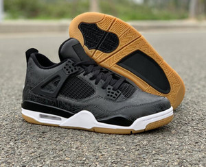 Best Quality 4s Black Laser Man Designer Basketball Shoes New Fashion IV Black White Gum Light Brown Custom Sports Sneakers Come With Box
