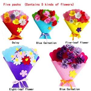 2019 nouvelles fleurs colorées Boutons mixtes feutre bricolage Set enfants Artisanat Bouquets Cadeaux Décoration artificielle à la main Party Supplies
